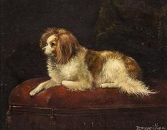 Artist Unknown (British, 19th/20th Century) - Cavalier Spaniel oil on canvas signed illegibly (lower right) 7 x 9 inches