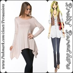 NWT Blush Long Sleeve Draping Sides Tunic Top Available in sizes: S, M, L Measurements available upon request   Features:  • super soft material  • relaxed fit • round neckline • draping side hemlines  Looks adorable paired with our lace dress extenders!! (Available in gray, white & black separate listings) NOTE: 3rd photo color not available & is only to show the backside of top  Bundle discounts available  No pp or trades - item # 1o1-2•1-0310PT Pretty Persuasions Tops Tunics