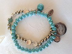 Online at Treasures to Treasure Turquoise Coin Bracelet Coin Bracelet, Beaded Bracelets, Turquoise Bracelet, Jewels, Bangle Bracelets, Jewerly, Pearl Bracelets, Gemstones, Fine Jewelry