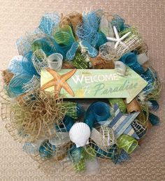 Beach mesh wreath