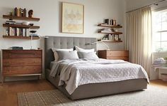 Avery Bed - Avery Bed with Delano Dressers in Walnut - Bedroom - Room & Board Bedroom Sets, Home Bedroom, Bedroom Decor, Bedding Sets, Decor Room, Master Bedroom, Modern Bedroom Furniture, Entryway Furniture, Furniture Board
