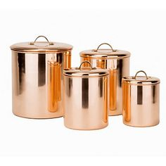 Old Dutch 4 Piece Polished Copper Canister Set w/Brass knobs - Qt, 1 Qt Copper Canisters, Stainless Steel Canisters, Dutch Kitchen, Painting Bathroom Cabinets, Kitchen Canister Sets, Food Storage Containers, Brass Handles, Kitchen Essentials, Beautiful Kitchens