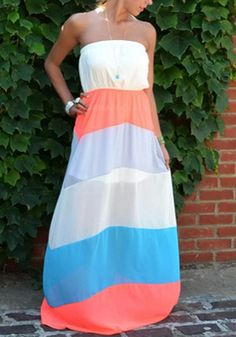 Multicolor Color Block Bandeau Fashion Maxi Dress