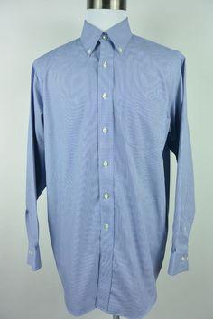 Brooks Brothers 16.5 34/35 346 Polo Non-Iron Blue White Oxford Dress Shirt #744 #BrooksBrothers