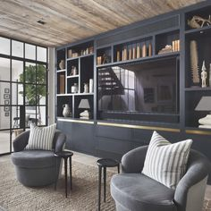 A loft house in strong colors – PLANETE DECO a homes world - Home Decor For Entertainment Living Room Wall Units, Living Room Built Ins, Living Room Designs, Living Area, Salas Home Theater, Modern Tv Room, Basement House Plans, Architecture Awards, Cinema Room