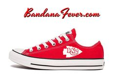 75a7a6ad3bbc08 Converse Low Red Kansas City Chiefs White by BandanaFeverDesigns Custom  Converse Shoes