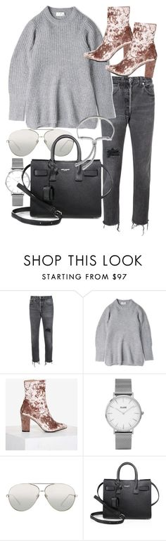 """""""Untitled #20591"""" by florencia95 ❤ liked on Polyvore featuring RE/DONE, Acne Studios, Nasty Gal, Topshop, Linda Farrow, Yves Saint Laurent and Monica Vinader"""