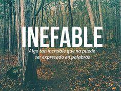 Inefable: algo tan increíble que no puede ser expresado en palabras.