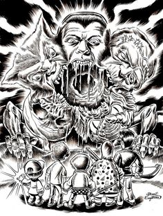 Artwork inspired by Fred Dekkers THE MONSTER SQUAD! Mes head just exploded due to the awesome contained in this picture. Monster Squad, Monster Art, Monster Coloring Pages, Adult Coloring Pages, Horror Artwork, Skate Art, Cartoon Tattoos, Scary Monsters, Horror Movie Posters