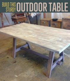 Time to replace your cheap patio furniture with this easy-to-do DIY outdoor table. This DIY outdoor table has a detachable tabletop for easy storage.