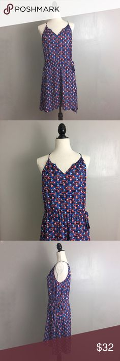"""Stitch Fix 41Hawthorn Nautical Boat Tammi Dress Stitch Fix. 41Hawthorn. Size Medium. Tammi dress. Blue/red/white nautical sailboat print. Sleeveless, thin straps. Slight V. Elastic adjustable tie side waist. Pull on closure. All garments are shown on a size Medium woman's dress form. All measurements are taken unstretched; Pit to pit-   18"""" Shoulder to Hem-      36.5""""    .NEW WITH TAGS; missing center strap, does not affect functionally or style. Stitch Fix Dresses Midi"""