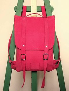Hey, I found this really awesome Etsy listing at https://www.etsy.com/listing/105484405/hot-pink-leather-backpack-rucksack-to