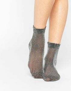 68ea1ba6d04 Socks by Monki Metallic fabric stretch cuff Semi sheer finish Machine wash  Polyamide
