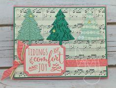 Comfort & Joy | Stampin\' Up! | Christmas Pines | Peaceful Pines | Pals Paper Arts #PPA319 | Hand Stamped Sentiments #HSS247 #literallymyjoy #christmas #holiday #tree #flirtyflamingo #emeraldenvy #mintmacaron #2016HolidayCatalog #20162017AnnualCatalog