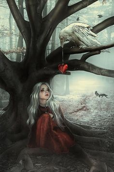 not exactly my type of digital art, but I like if because it looks like the bird is giving the girl's heart back to her - related topics: heartbreak illustration Dark Fantasy Art, Portrait Girl, Art Noir, Arte Obscura, Arte Horror, Digital Illustration, Urban Art, Amazing Art, Concept Art