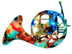 Title:  French Horn - Colorful Music By Sharon Cummings  Artist:  Sharon Cummings  Medium:  Painting - Mixed Media Painting Print