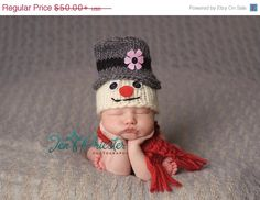 Sale 20% off now Frosty the Snowman inspired baby hat with scarf.. snowman... baby hat... newborn hat..photo prop.. photography prop .. on Etsy, $40.00