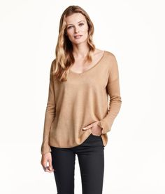 Check this out! Wide-cut sweater in a soft, fine knit. Low-cut V-neck and long sleeves with short slits at cuffs. - Visit hm.com to see more.