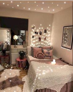 Cozy-Bedroom-Lighting/ teen room decor, diy bedroom decor, bedroom in Cute Bedroom Ideas, Cute Room Decor, Teen Room Decor, Girly Bedroom Decor, Indie Bedroom, Tumblr Bedroom, Pretty Bedroom, Aesthetic Room Decor, Cozy Bedroom