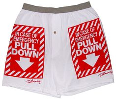 """Sock it to Me Boston - """"In Case of Emergency Pull Down"""" Boxer Shorts, $13.00 (http://www.sockittomeboston.com/in-case-of-emergency-pull-down-boxer-shorts/)"""