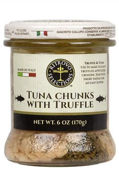 Ritrovo Selections Tuna Chunks with Italian Truffle. Yellowfin tuna in extra virgin oil and slices of Central Italian black truffles. Use to make elegant truffled appetizers, crostini, toss with short pastas. Italian Truffles, Balsamic Vinegar Of Modena, Natural Spice, Italian Spices, Best Appetizers, Baking Ingredients, Gourmet Recipes, Cookie Dough, Italian Recipes