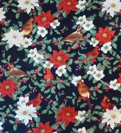 Cotton Fabric,Quilt Cotton,Home Decor Fabric,Christmas,Cardinals,Pointsettias,Deck the Halls for Wilmington Prints,Fast Shipping