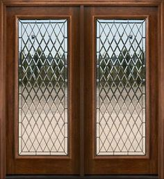 Leaded Glass Front Door + Interior Stained Walnut + White Trim ...