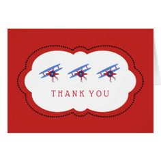 Red and Blue Airplane Thank You Card - thank you gifts ideas diy thankyou