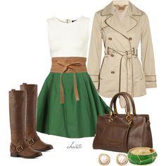 White Nation blouse, brown belt, J Crew green skirt, Frye boots
