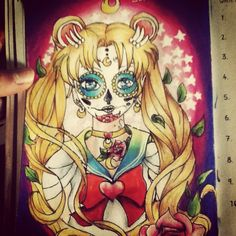 """Sailor moon sugar skull drawing :) used #prismacolor pencils :) #sailormoon #tattoo #sugarskull #skull #tattoo #design #drawing #art #90skids #flashback #cartoon #anime #blonde #sailor #moon #luna #pencil #colour #life #happiness #bored #hobby #artistic """"make a picture with the circle"""" page in #pointlessbook #pointlessblog #alfiedeyes"""