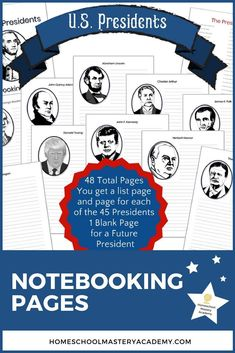 U.S. Presidents Notebooking Pages Package �� Notebooking Pages �� Homeschool Printables �� Homeschool Curriculum �� Homeschool Notebooking Printables �� US Presidents Unit Study �� US Presidents Homeschool Resources �� Homeschooling Printables US Presidents Home Schooling, Us Presidents, Homeschool, The Unit, Personalized Items, American Presidents, Homeschooling