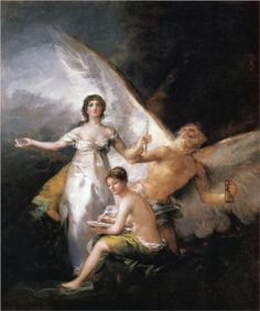 Truth Rescued by Time, Witnessed by History : Francisco Goya : Romanticism : allegorical painting - Oil Painting Reproductions Francisco Goya, Spanish Painters, Spanish Artists, As Flores Do Mal, Goya Paintings, Jean Antoine Watteau, Classic Paintings, Art Party, Gravure