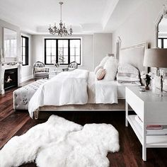 "ICE Collection ~ With all to do during the Christmas Holiday... my mind is drifting to ""rest""... When I saw this bedroom, I loved everything about it...The Bed is heavenly, the tufted bench at the end of the bed to sit while putting on your shoes, the crystal bedside lamps, the french chairs placed near the windows, and the gorgeous fireplace. I adore having a fireplace in the bedroom. ""were nestled all snug in their beds, while visions of sugar plums danced in their heads."""