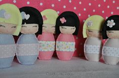 Japanese kokeshi dolls felties