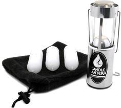 Candle: UCO Original Candle Lantern Value Pack  Compact lantern is ideal for backpacking and home emergency kits; it collapses down to 4.25 in. in height for compact storage  Includes 3 candles; each provides up to 9 hrs. of warm light  Viewing slot on the side of the lantern lets you monitor the slow-burning candle to see how much is left  Spring-loaded system keeps the candle at a consistent height  Hang the lantern up or carry it around camp with the metal handle
