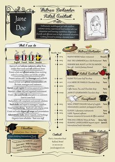 """""""Graphic CV template for waitress"""" - Personal work - Dec 2015"""