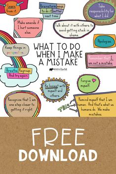 This free Social Emotional Learning (SEL) Growth Mindset Poster reminds us of pro-active steps to take when we make a mistake. Use this in your counseling office, classroom, or at home. Coping Skills, Social Skills, Life Skills, Behavior Management, Classroom Management, Growth Mindset Posters, Growth Mindset Kids, Growth Mindset Activities, Leadership Activities