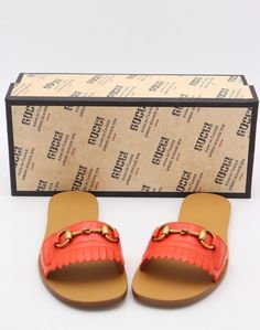 984272f4219 NIB Gucci Fringe Orange Leather Horsebit Slide Sandals 7.5 37.5 New  650   Gucci  Slides