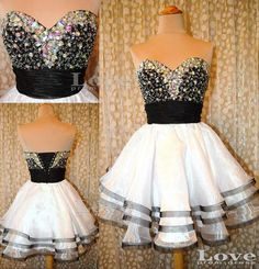 A Line Sweetheart White and Black Short Prom Dresses,Homecoming Dresses,Cocktail Dress 2013,Formal Dresses on Etsy, $158.99