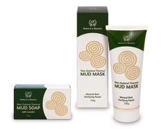 Packaging design for New Zealand Thermal Mud range for Nature's Beauty.