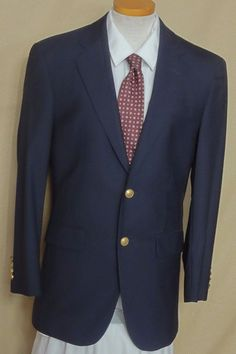 Jos A. Bank Solid Blue with Gold Buttons 100% Wool Sports Coat Size 36R #JosABank #TwoButton