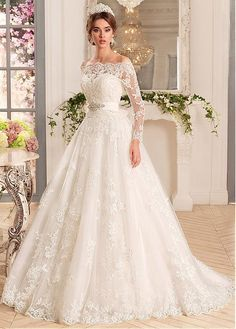 Buy discount Glamorous Tulle & Satin Off-the-shoulder Neckline A-Line Wedding Dresses With Beaded Lace Appliques at Dressilyme.com