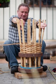 "Basketry, Artist unknown,  ""Weaving a Bee Hive with European Cane (Arundo donax) at Asco's Medieval Craft Fair."" ~ narrative from Tim Johnson Blog"
