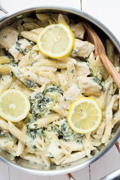 One Pot Creamy Lemon Chicken Pasta with Baby Kale | via Spoonful of Flavor