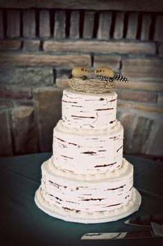 Birch bark cake - so simple, just love this!  Would make a really nice birthday cake, too (just the bottom layer).