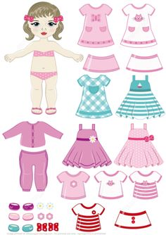 Brunette Girl Paper Doll with Clothing Set from Dress Up Paper Dolls category. Hundreds of free printable papercraft templates of origami, cut out pap. Paper Dolls Clothing, Paper Clothes, Clothes Crafts, Paper Dolls Dresses, Paper Doll Template, Paper Dolls Printable, Dress Template, Kids Dress Up, Dress Up Dolls