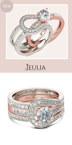 Check this out from jeulia! Jeulia Herakles Two Tone Round Cut Sterling Silver Enhancer Ring Set Diamond Rings, Diamond Jewelry, Jewelry Rings, Gold Rings, Women's Rings, Sapphire Rings, Jewellery Earrings, Gold Jewellery, Unique Rings