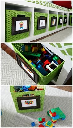 Picture labels for easy storage solutions in the playroom!.add simple words for early reading reccognition.