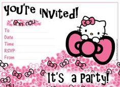 HELLO KITTY <3 free printable birthday invitations for girls