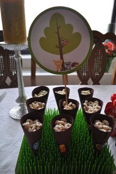 Handmade cones with baby puffs for Woodland Birthday theme